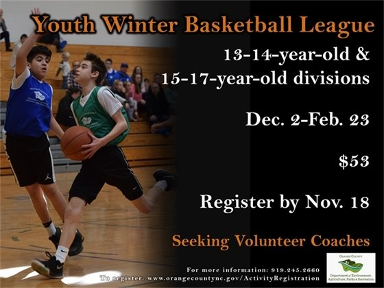 Youth Winter Basketball League ages 13-17: Register by November 18