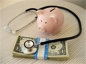 Photo of money and medical equipment