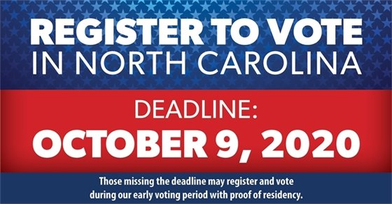 Register to vote in North Carolina. Red, white and blue signage.