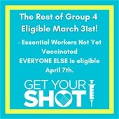 All of Group 4 is Eligible to be vaccinated on March 31st. Group 5 is eligible on April 7th. Register to be vaccinated. Learn more.