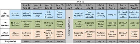 Summer Virtual Enrichment schedule
