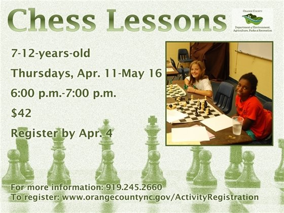 Chess Lessons, Thursdays April 11-May 16