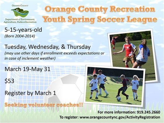 Spring Youth Soccer League Register by March 1