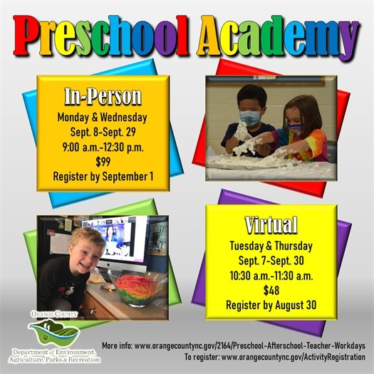 Preschool Academy available both in-person and virtual for ages 3-5-years-old