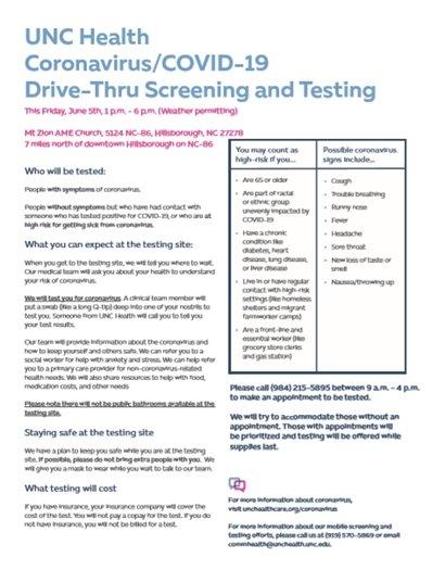 UNC Health testing