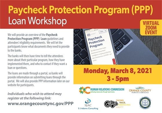 Infographic about PPP webinar on March 8.