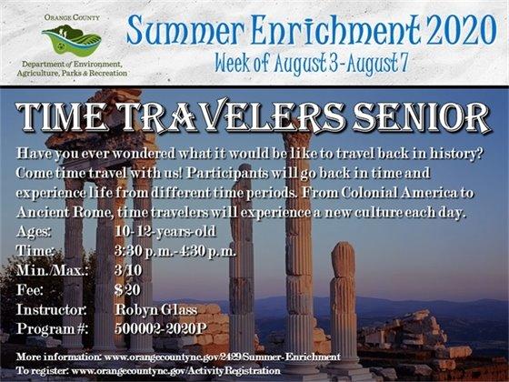 Time Travelers Senior - Week of August 3-August 7