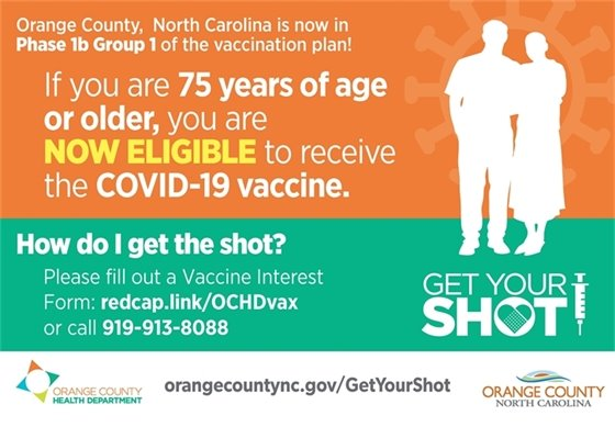 Orange County, NC, is now in Phase 1b Group 1 of the Vaccination Plan! If you are 75 years of age or older, you are NOW ELIGIBLE to receive the COVID-19 vaccine. How do I get the shot? Please fill out a Vaccine Interest Form: www.redcap.link/OCHDvax or call 919-913-8088. get your SHOT!