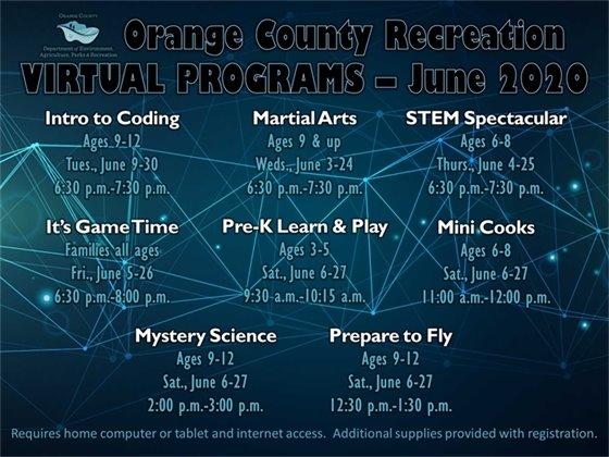 Orange County Recreation Virtual Programs June 2020