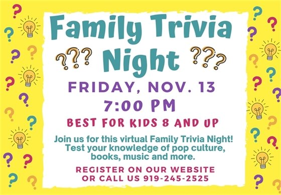Orange County Libraries Family Trivia Night graphic