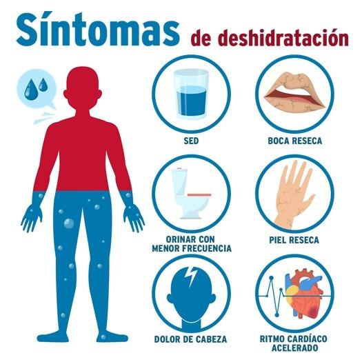 sintomas de deshidratacion: sed, boca reseca, orinar con menor frecuencia, piel reseca, dolor de cabeza, ritmo cardiaco acelerado