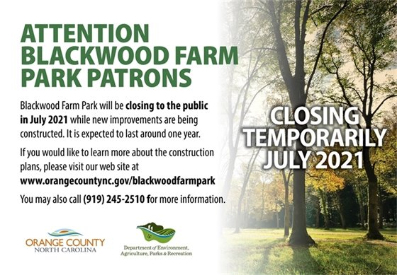Graphic announcing Blackwood Farm Park closing