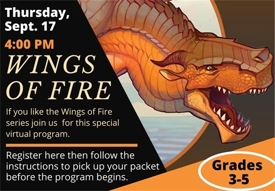 Wings of Fire program. Dragon swooping in from the left of the image. Click on image to register.