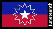 """""""Juneteenth"""" in black text with white star on red, blue, and black flag"""