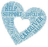 """Heart shaped word cloud. Text, """"Caregiver, Support, Self-help, Help, Education, Skills)"""