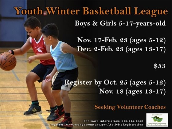 Youth Winter Basketball Register by October 25