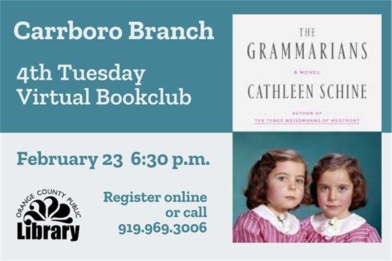 Carrboro Branch 4th Tuesday Virtual Book Club