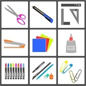 Grid with various craft supplies (i.e., scissors, ruler, glue, paint, paper)