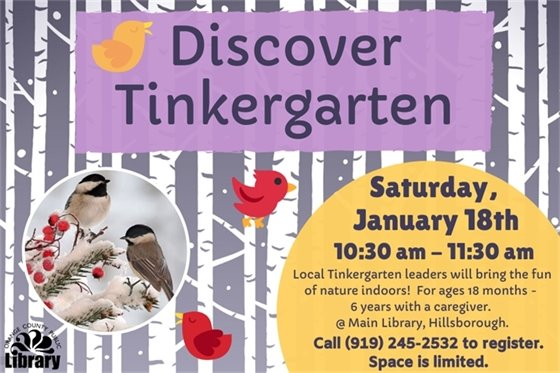 join as at the library for Tinkergarten 1/18 10:30 am