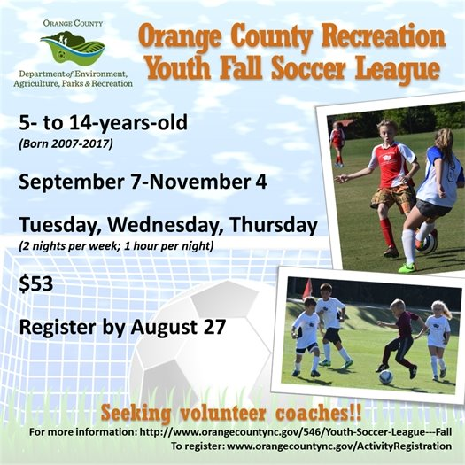 Youth Fall Soccer League for ages 4 to 14-years-old