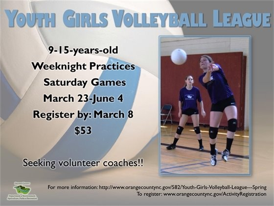 Youth Girls Volleyball League register by March 8