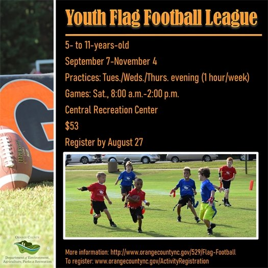 Youth Flag Football League for ages 5 to 11-years-old