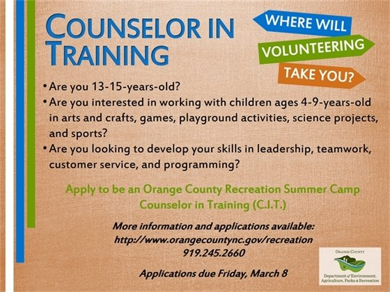 Counselor in Training Applications due March 8