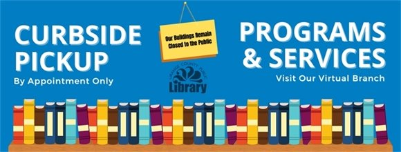 books on shelves, library logo and our offerings during Covid