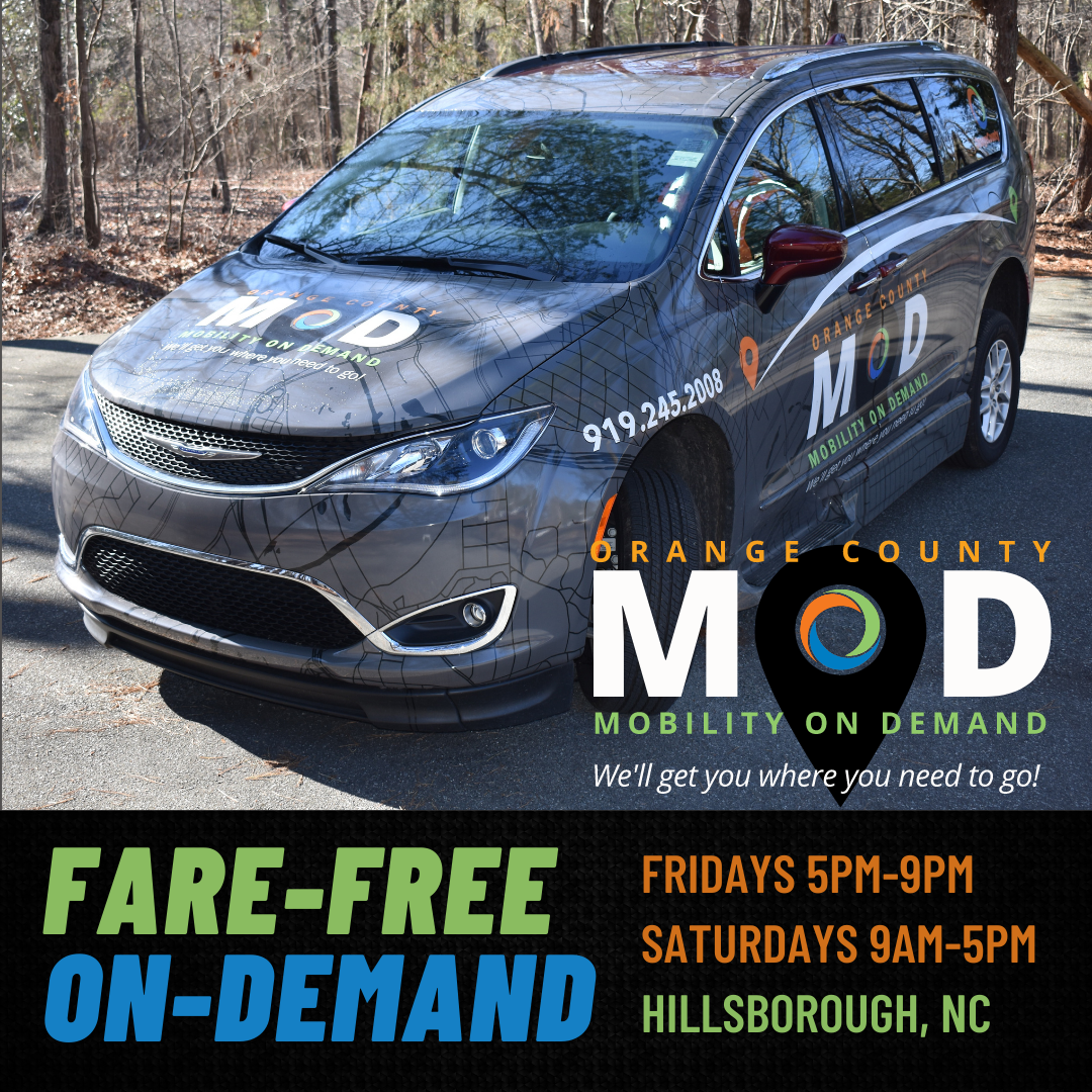 Minivan with MOD logo, free rides every Friday from 5pm-9pm and Saturday 9am-5pm