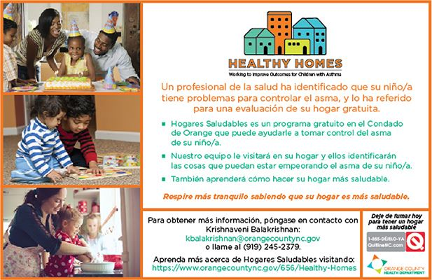 Healthy homes postcard in spanish